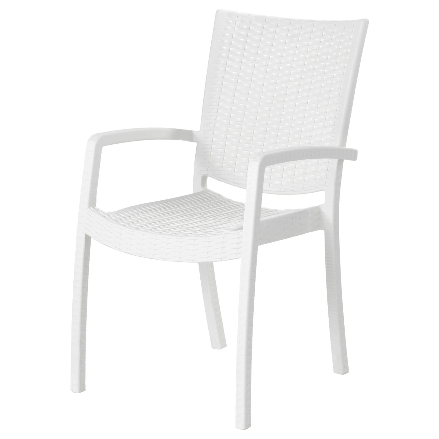 INNAMO Chair with armrests, outdoor White
