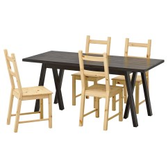 Ikea Wooden Dining Table 4 Chairs Office No Wheels Ivar Ryggestad Grebbestad And Black Pine