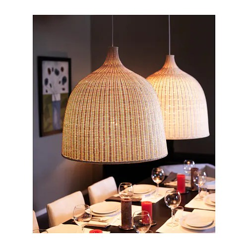 LERAN Pendant lamp IKEA Handmade shade; each shade is unique. Gives both directed and diffused light, good for lighting up a dining table.