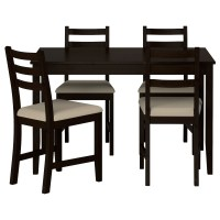LERHAMN Table and 4 chairs Black-brown/ramna beige 118 x ...