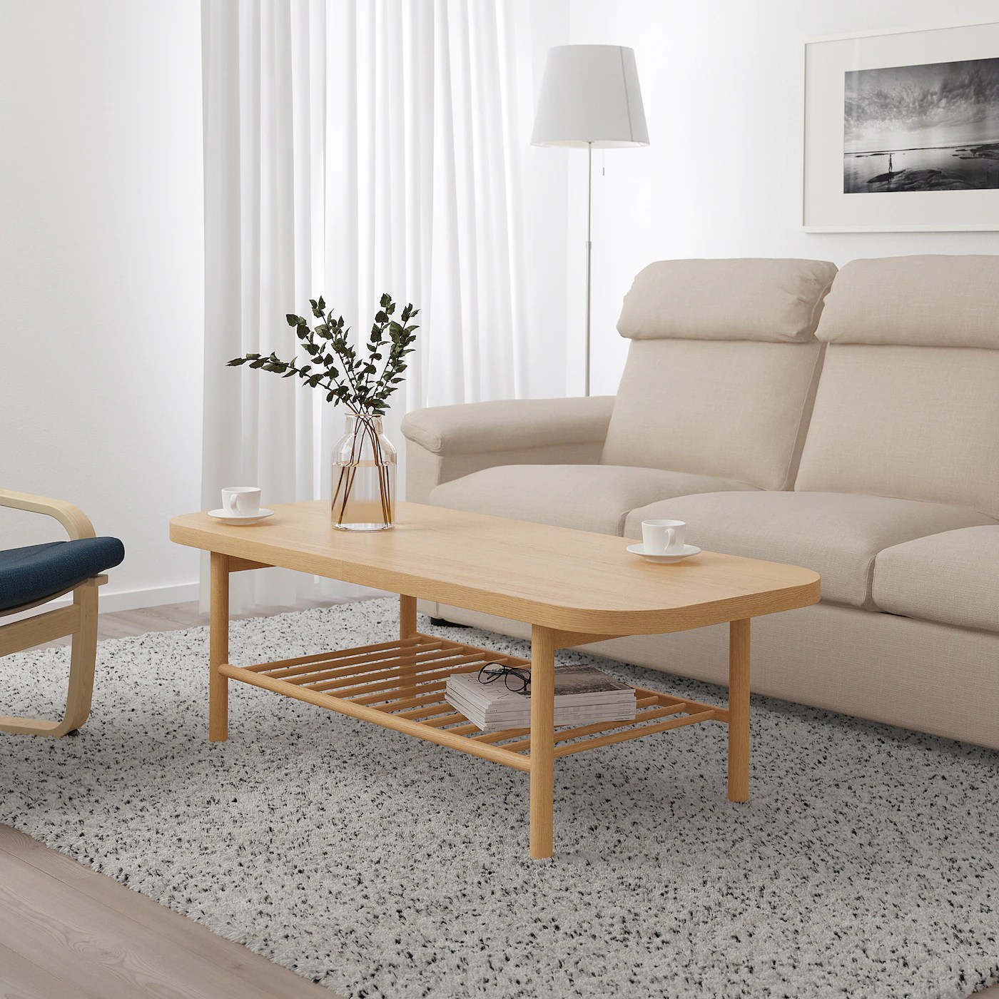 listerby coffee table white stained oak 140x60 cm