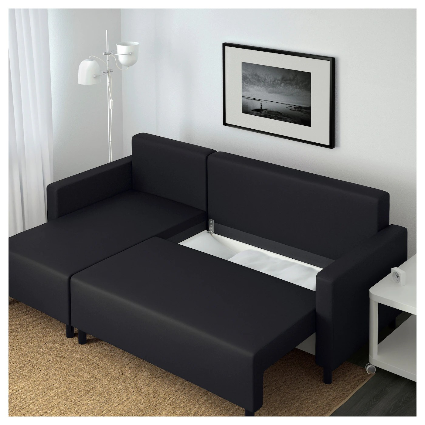 ikea bed chair wedding covers bournemouth lugnvik sofa with chaise longue granån black
