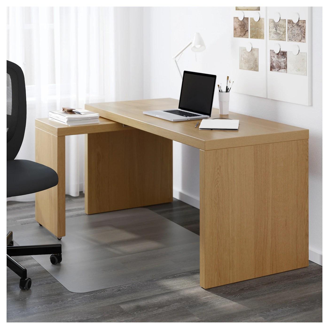 MALM Desk with pullout panel Oak veneer 151 x 65 cm  IKEA