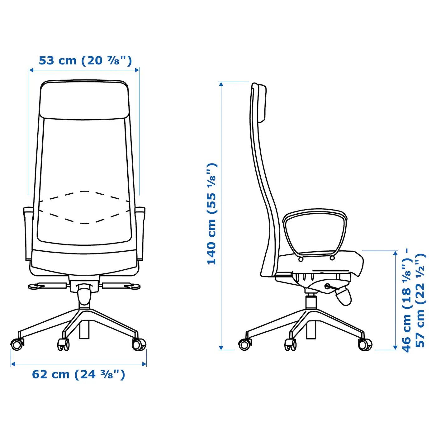 ergonomic chair dimensions pier one imports slipcovers markus swivel glose black ikea