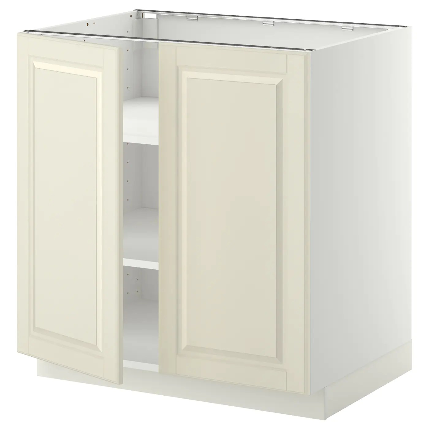 kitchen cabinet spacing reclaimed table metod base with shelves/2 doors white/bodbyn off ...