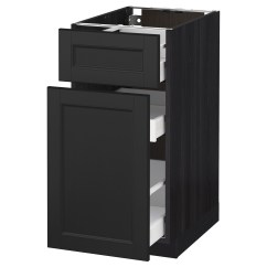 Black Kitchen Storage Cabinet Lighting Above Table Metod Maximera Base P Out Drawer