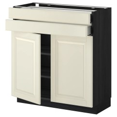 2 Drawer Base Kitchen Cabinet Cabinets On Line Metod Maximera W Doors Drawers Black