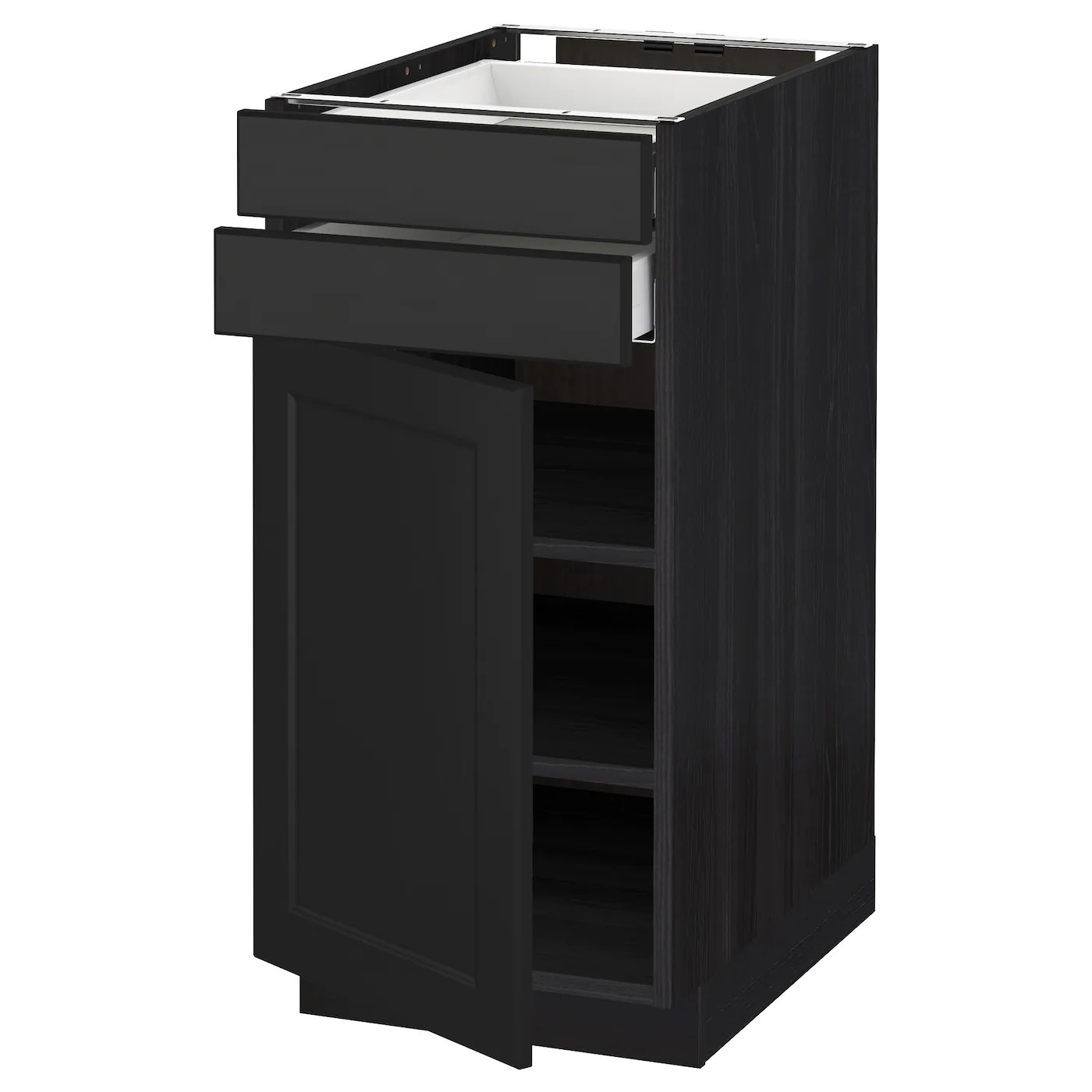 2 drawer base kitchen cabinet modern pulls metod maximera w door drawers black laxarby