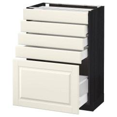 5 Drawer Kitchen Base Cabinet Magnets Metod Maximera With Drawers Black Bodbyn