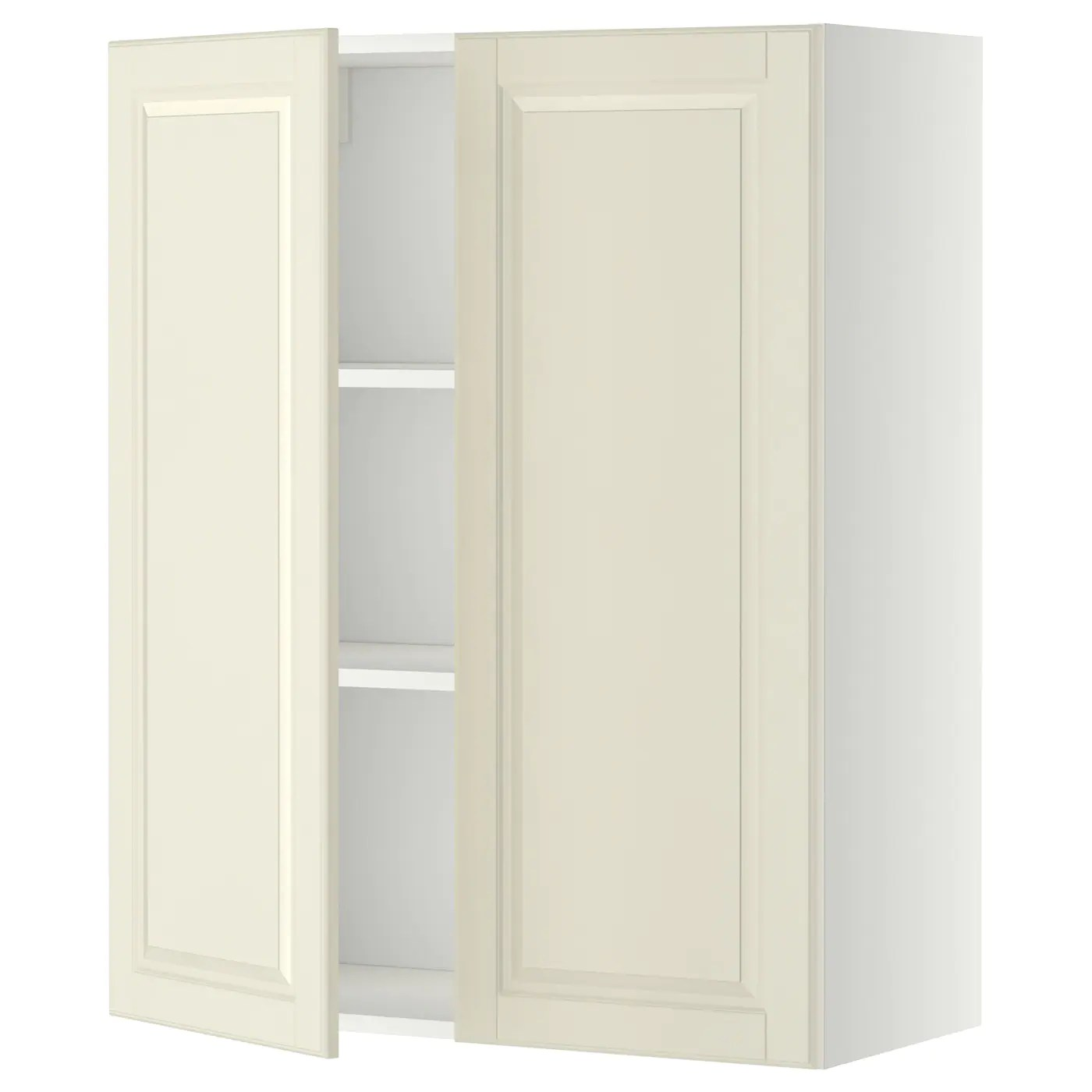 white kitchen wall cabinets table storage units ikea metod cabinet with shelves 2 doors sturdy frame construction 18 mm thick