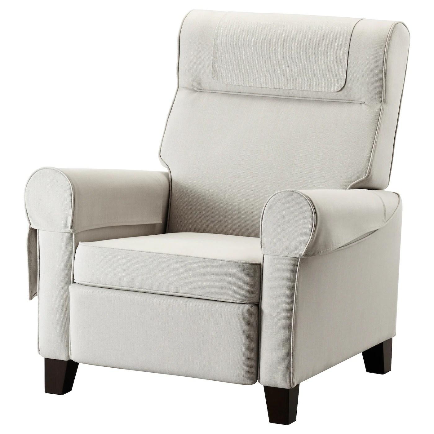 upright recliner chairs blue parrot chair covers muren nordvalla beige ikea