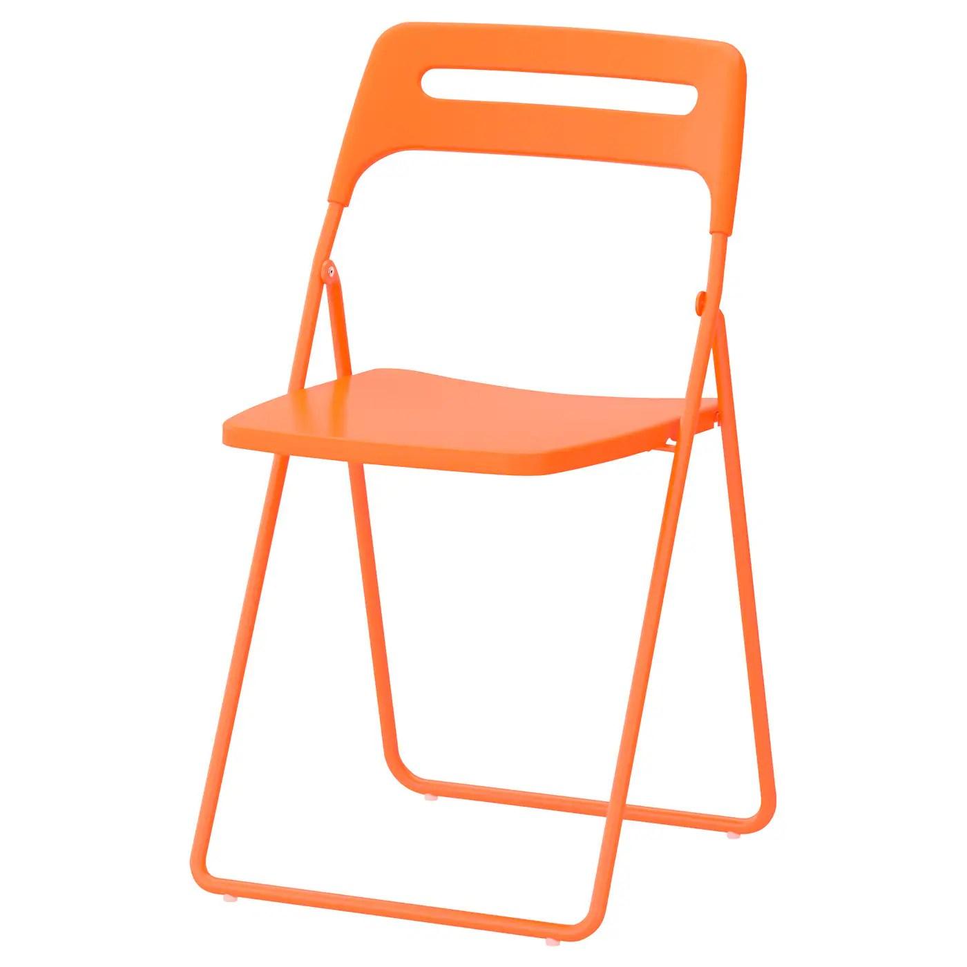 high end folding chairs clamp on chair sun umbrella nisse orange ikea