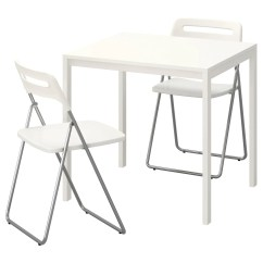 White Folding Chairs Ikea Stuffed Animal For Toddlers Nisse Melltorp Table And 2 75
