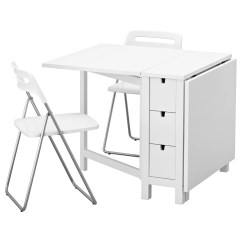 Folding Table And Chairs White Navy Office Chair Nisse Norden 2 89 Cm Ikea