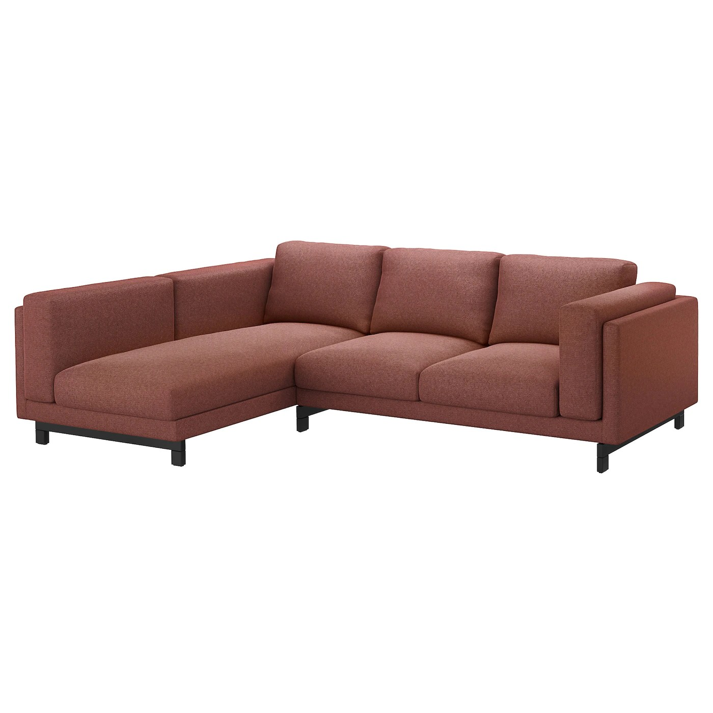 sofa w chaise italsofa recliner replacement cable nockeby two seat longue left tallmyra rust
