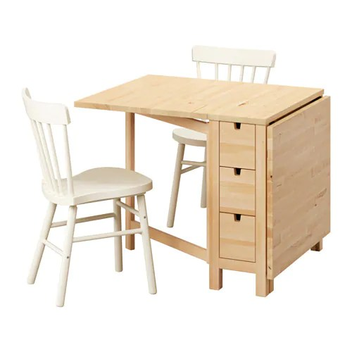 NORDENNORRARYD Table and 2 chairs Birchwhite 89 cm  IKEA