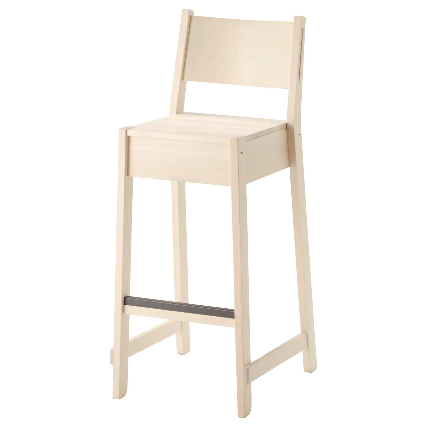ikea bar chair indoor hanging chairs norrÅker stool with backrest white birch 74 cm