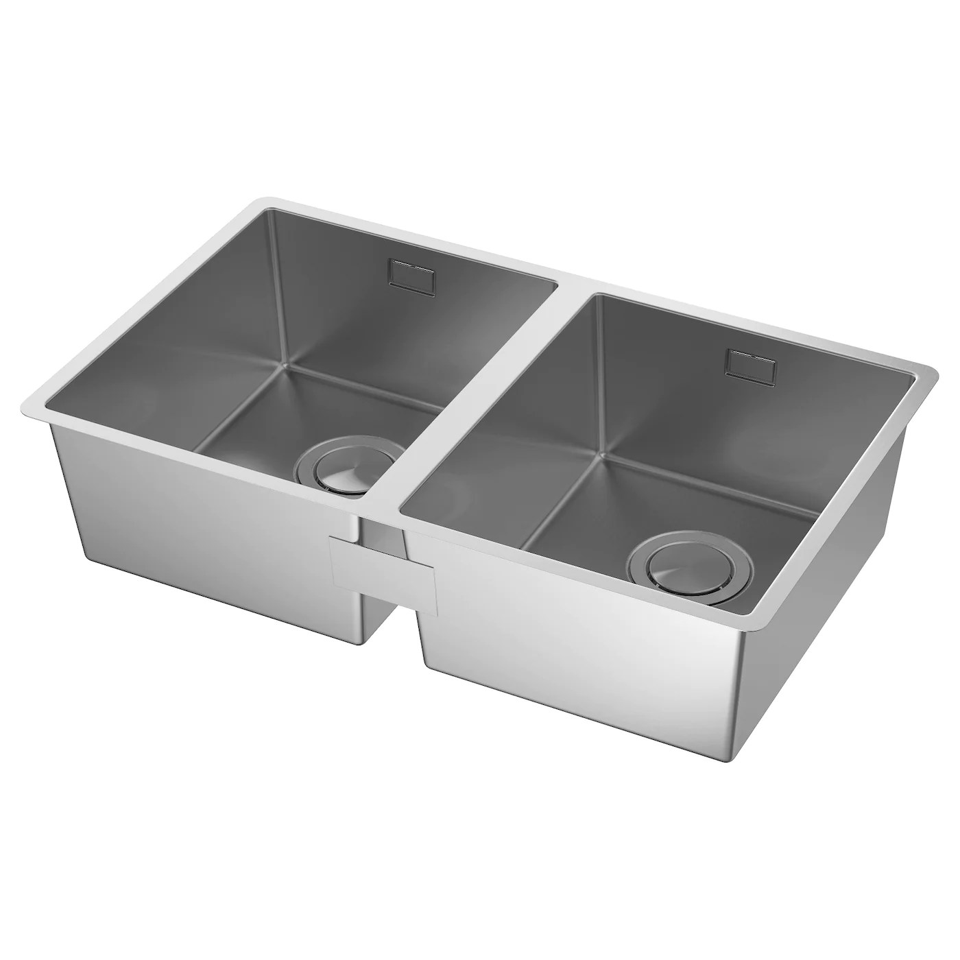 square kitchen sink how much for remodel norrsjon inset 2 bowls stainless steel 73 x 44 cm ikea 25 year guarantee read about the terms in