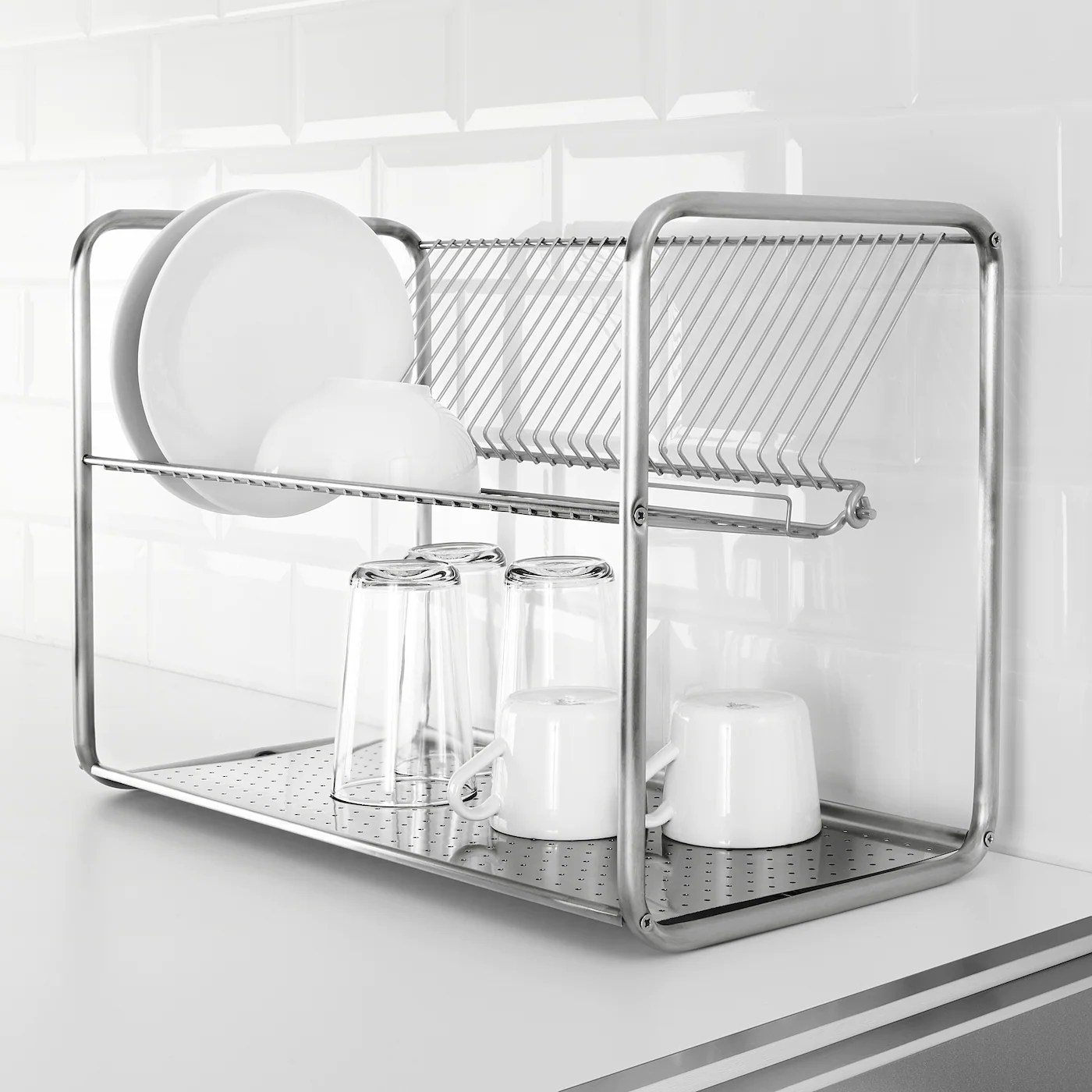 ordning dish drainer stainless steel 50x27x36 cm