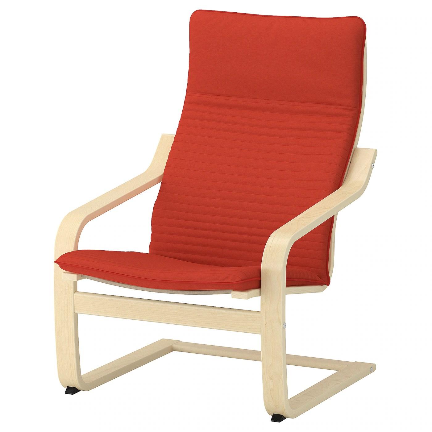 ikea orange chair covers pier one parson poÄng armchair cushion knisa red
