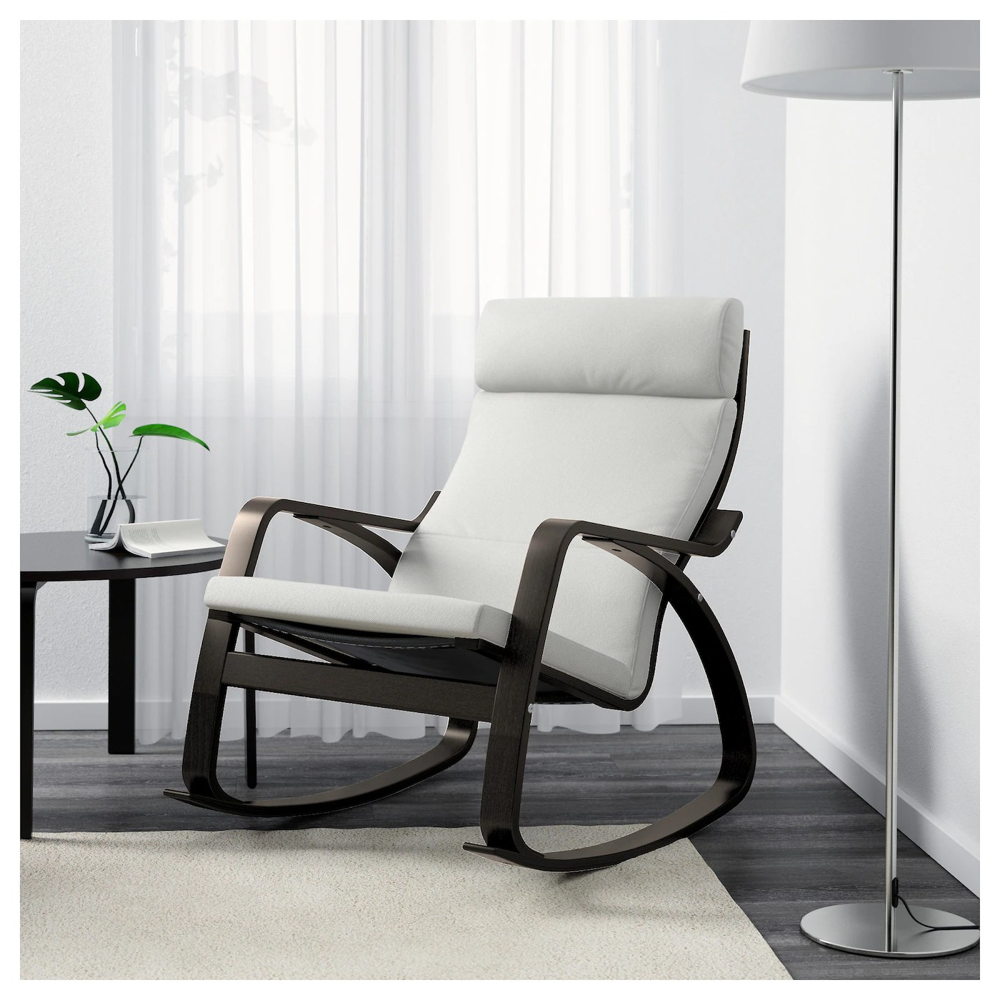 ikea rocking chairs fishing chair/backpack combo poÄng chair black brown finnsta white