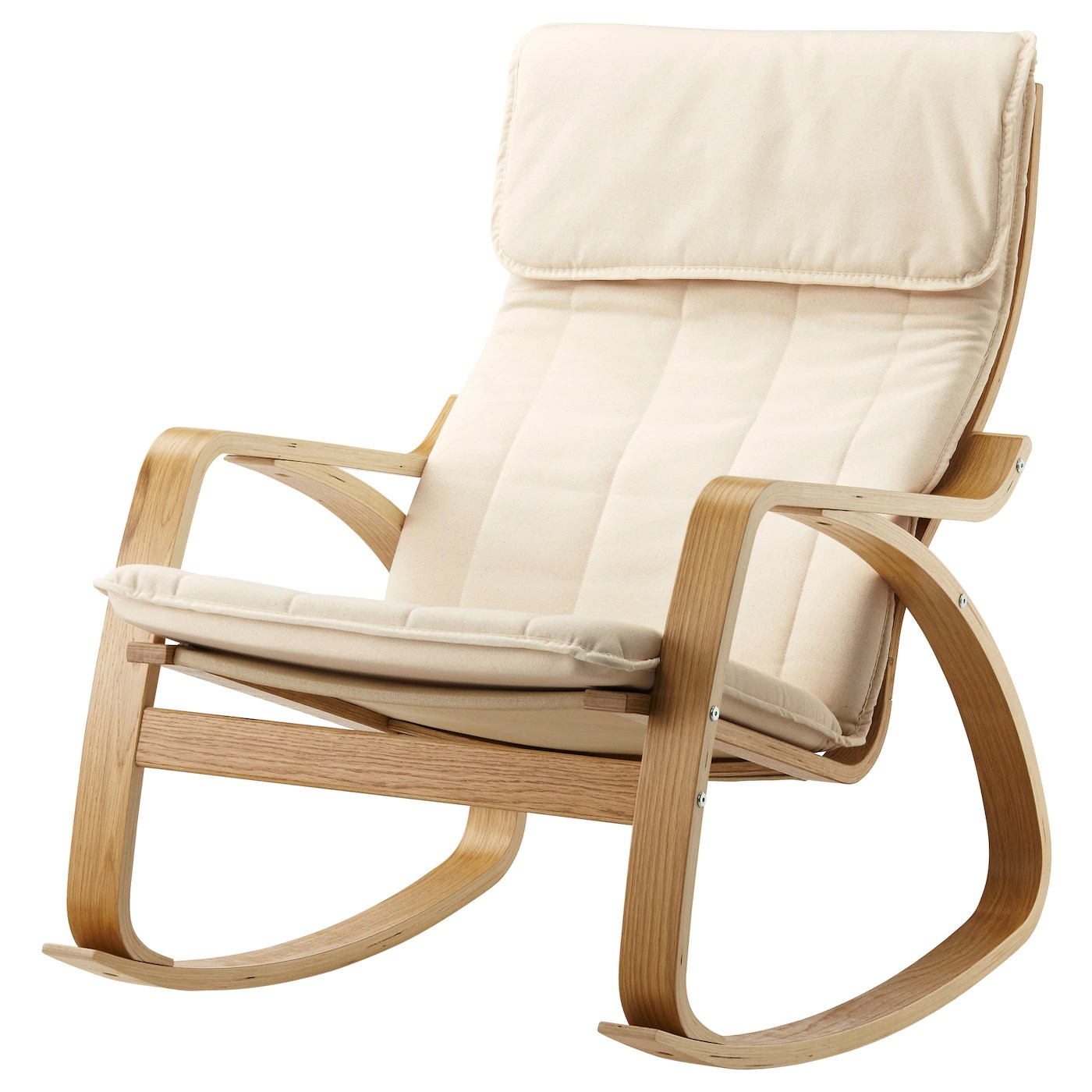 ikea white rocking chair foldable dining chairs poÄng oak veneer ransta natural