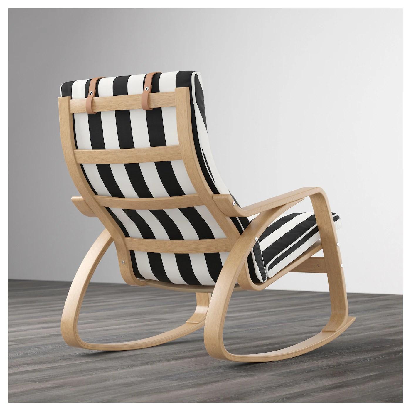 ikea white rocking chair revolving hardware poÄng oak veneer stenli black