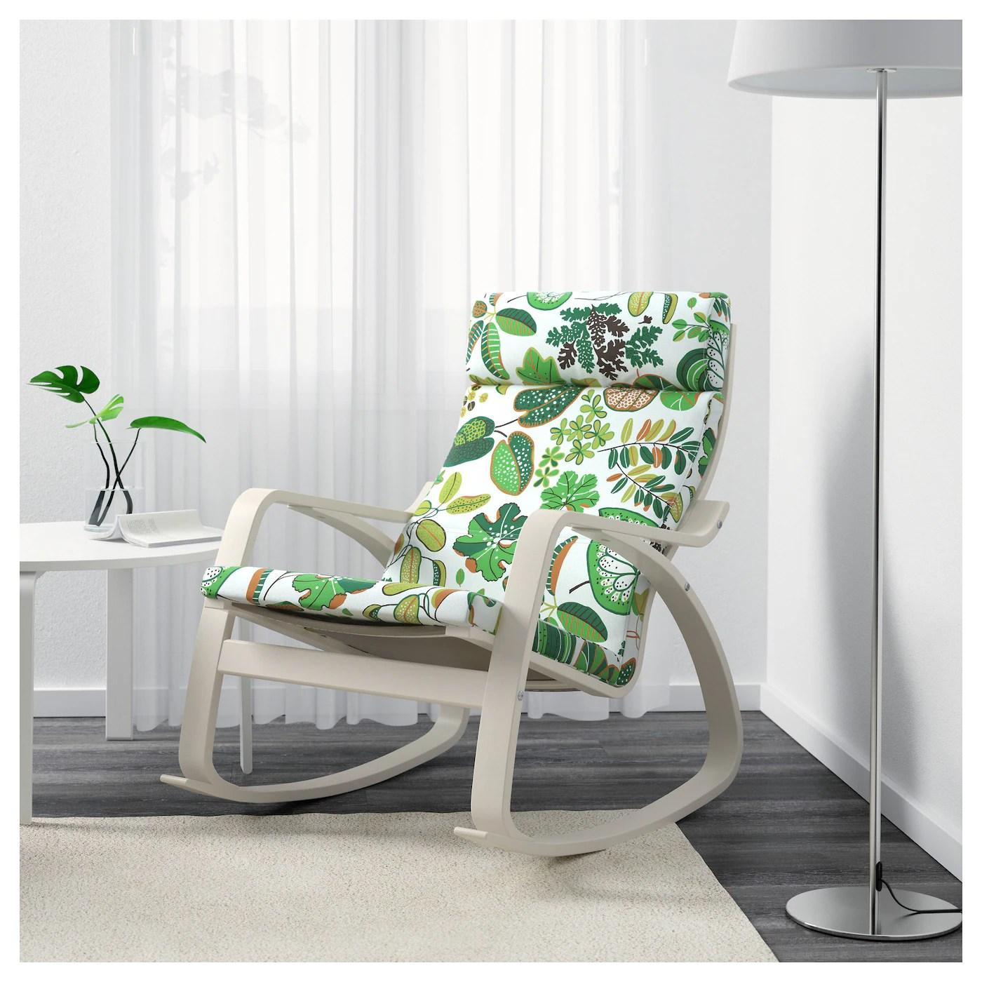 ikea white rocking chair pottery barn wicker cushions poÄng simmarp green