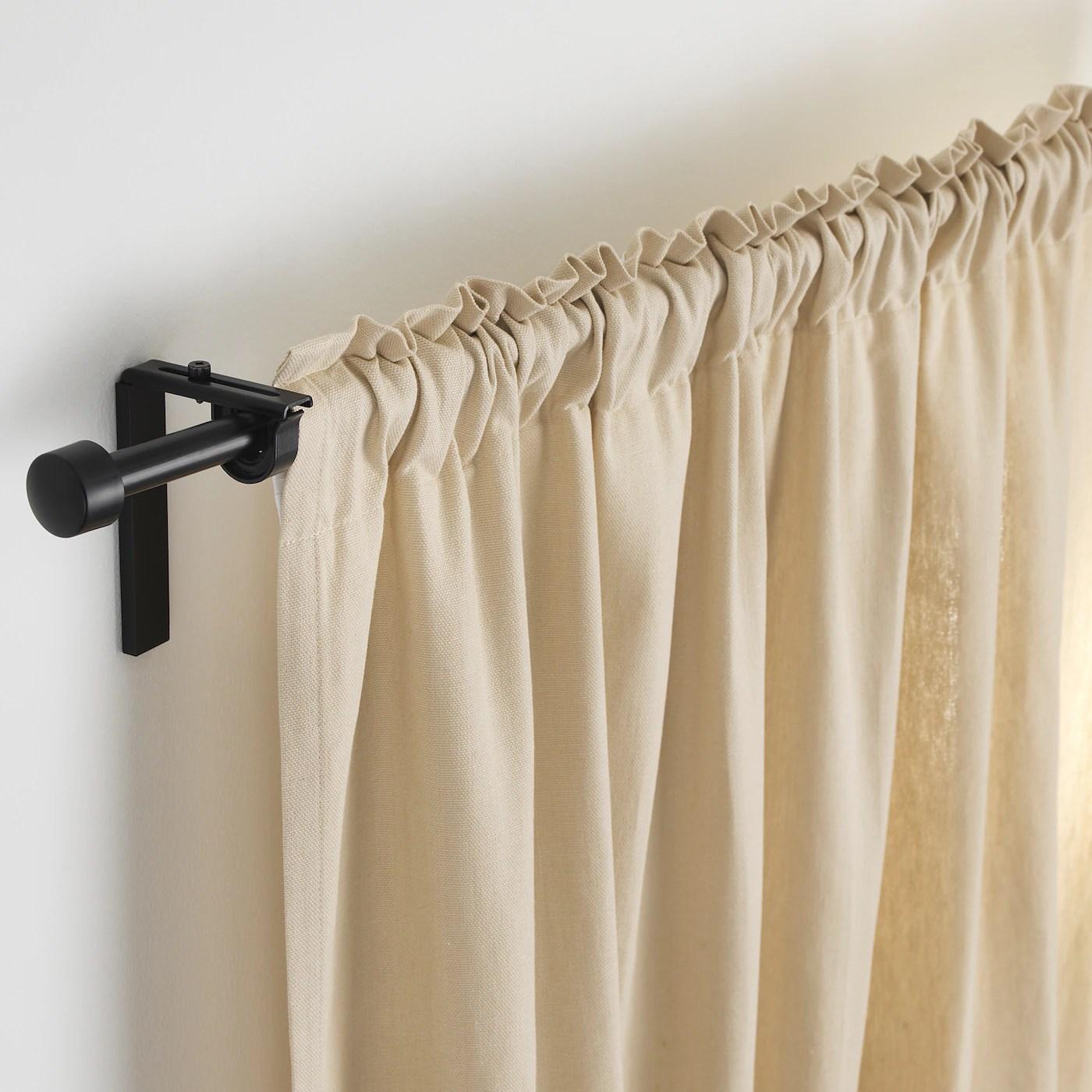 racka curtain rod black 70 120 cm