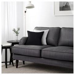 Dark Gray Chair Dining Room Chairs With Wheels And Arms Stocksund Three Seat Sofa Nolhaga Grey Black Wood Ikea