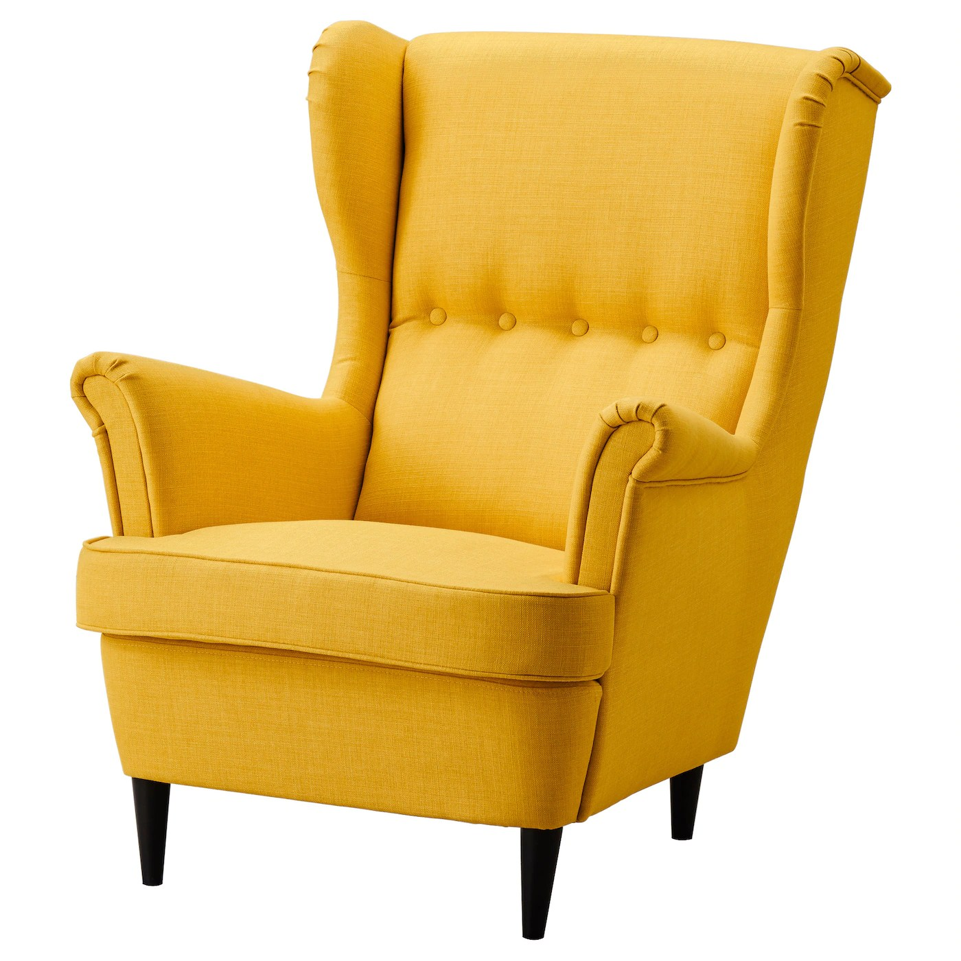 wingback chair covers ikea hanging dubai strandmon wing skiftebo yellow