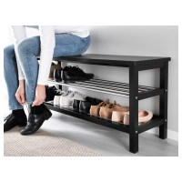 TJUSIG Bench with shoe storage Black 108 x 50 cm - IKEA