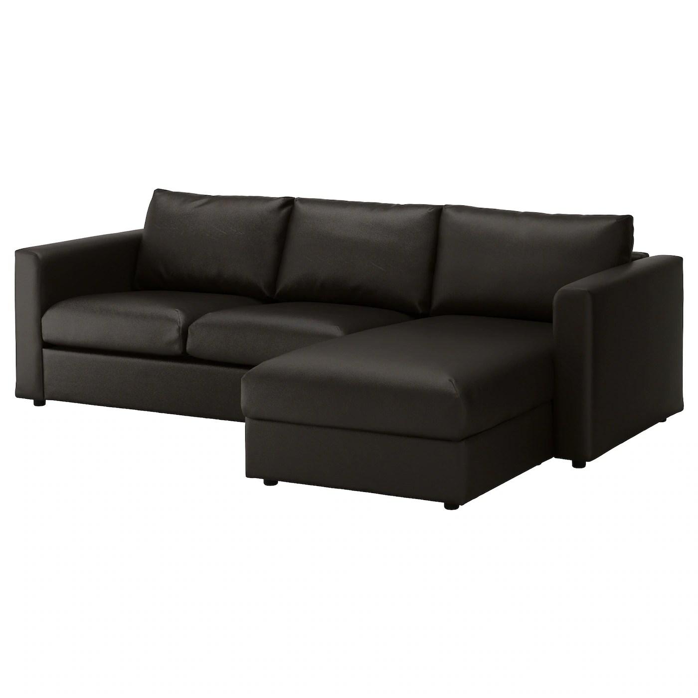 clean leather sofa with damp cloth single seater chair india vimle 3 seat chaise longue farsta black ikea