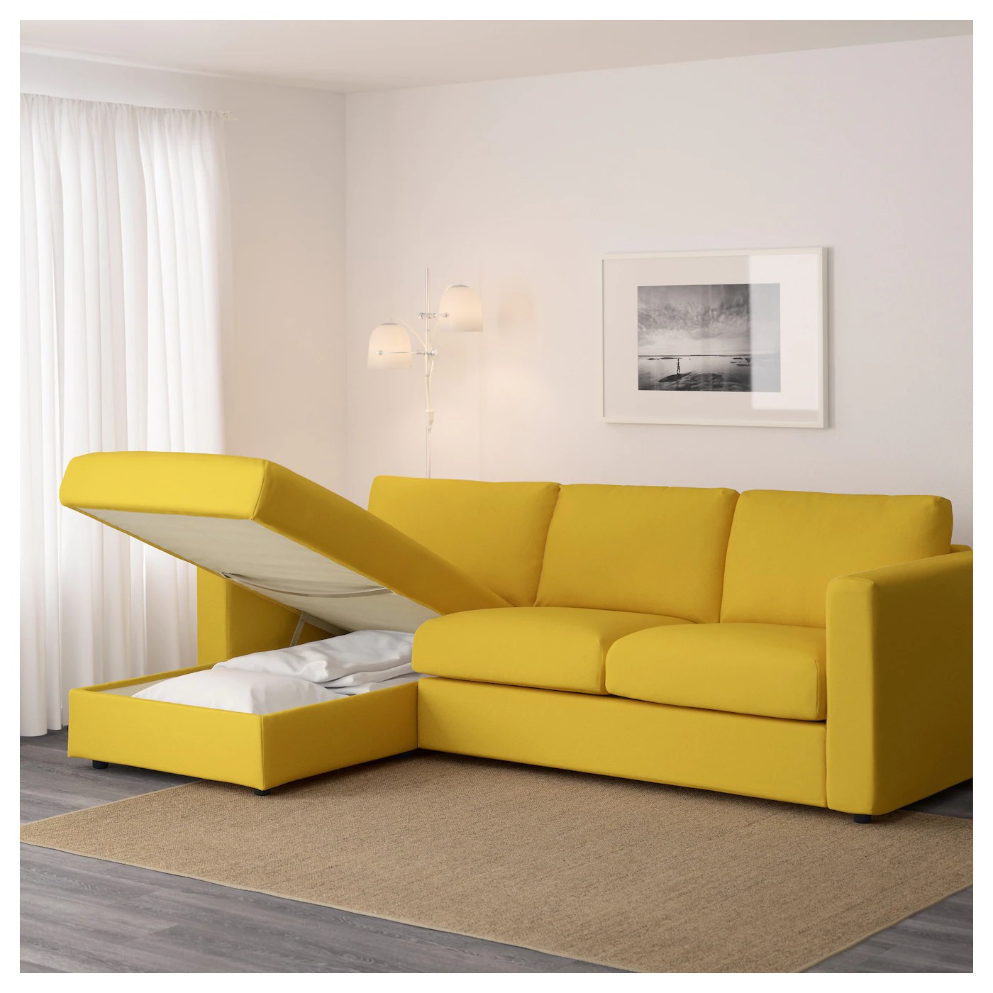 VIMLE 3 Seat Sofa With Chaise Longuegrsbo Golden Yellow