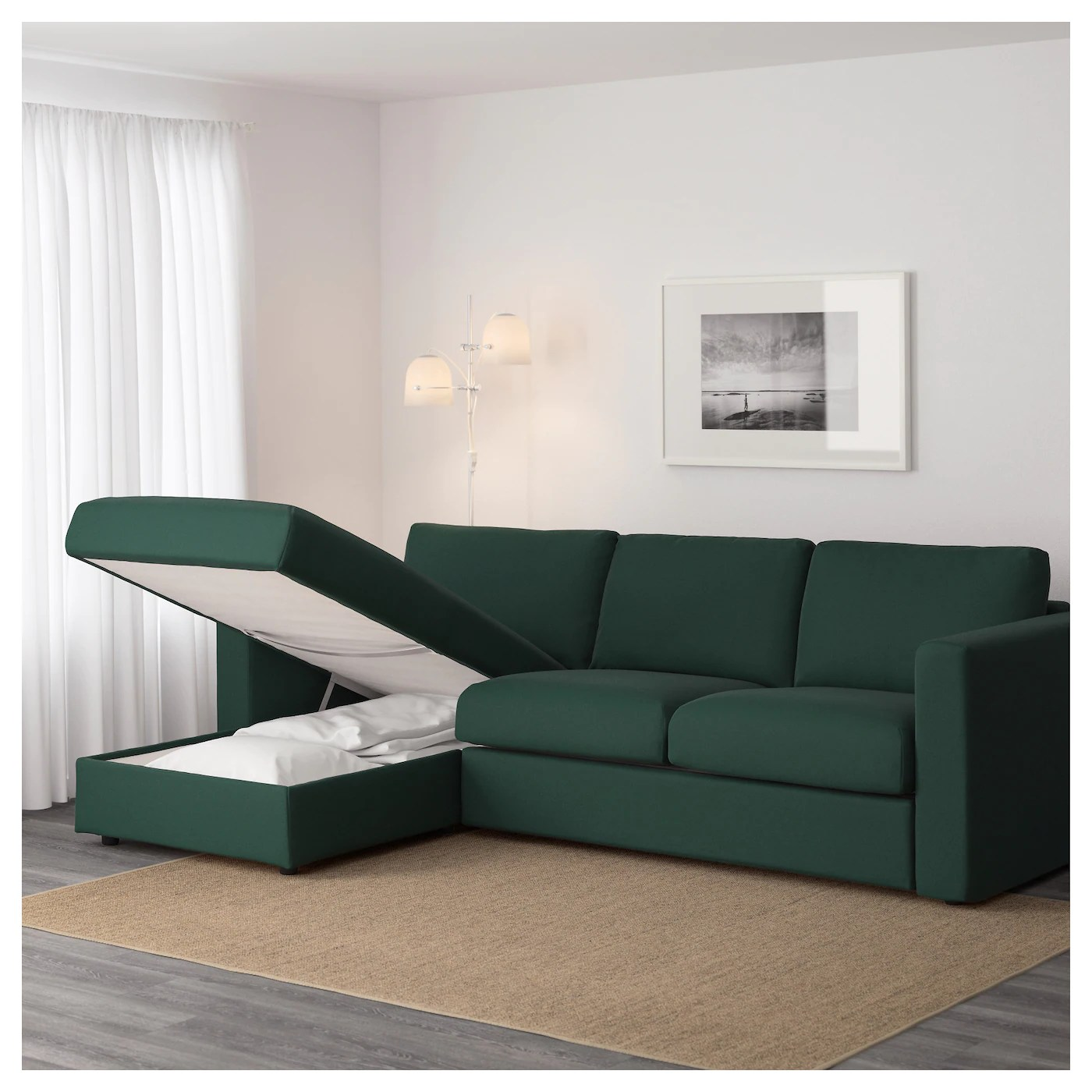 removable cover sofa leather cleaning nyc vimle 3-seat with chaise longue/gunnared dark green ...