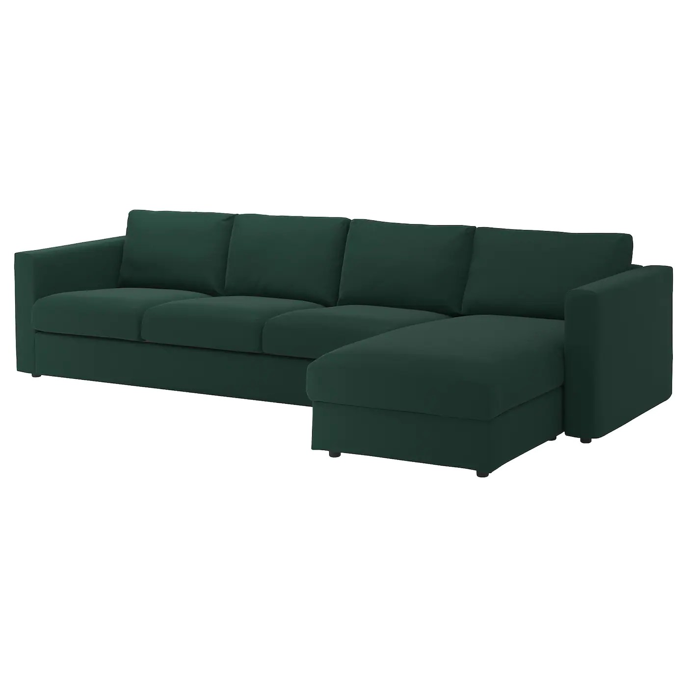 four seat sofa with chaise removal nyc vimle 4 longue gunnared dark green