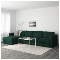Chaise Sofa Cover Sure Fit 2 Piece Slipcover Vimle 4-seat With Longue/gunnared Dark Green ...
