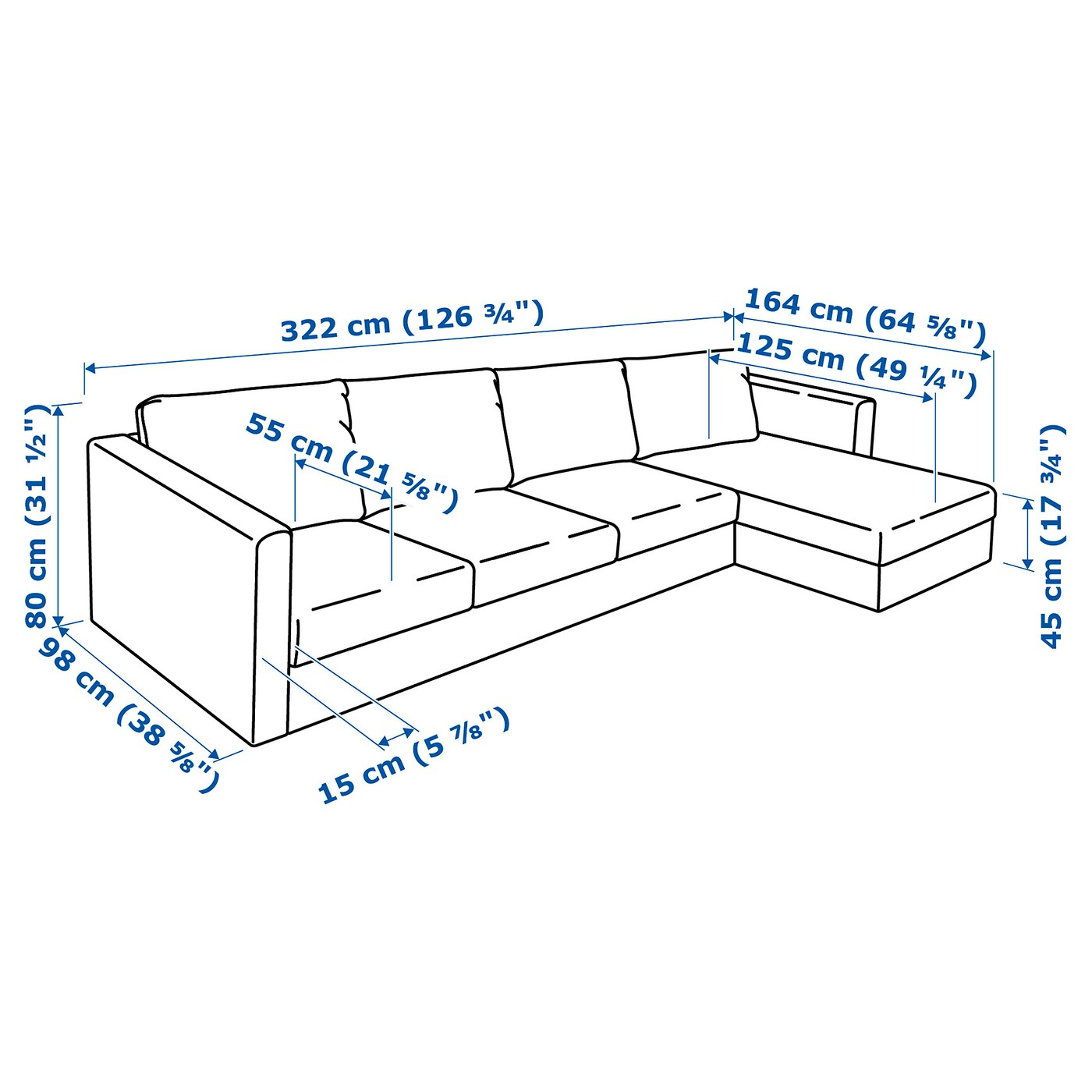 length of 2 seater sofa dimensions savona queen sleeper vimle 4 seat with chaise longue gunnared medium grey ikea the cover is easy to keep clean since it