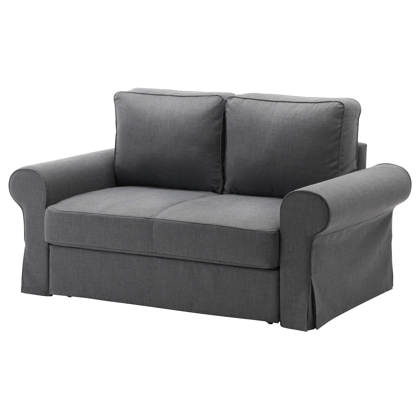convertible chair bed ikea rustic lounge backabro two seat sofa nordvalla dark grey