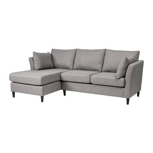 sofa w chaise futon faux leather bed bankeryd 2 seat longue left grey ikea