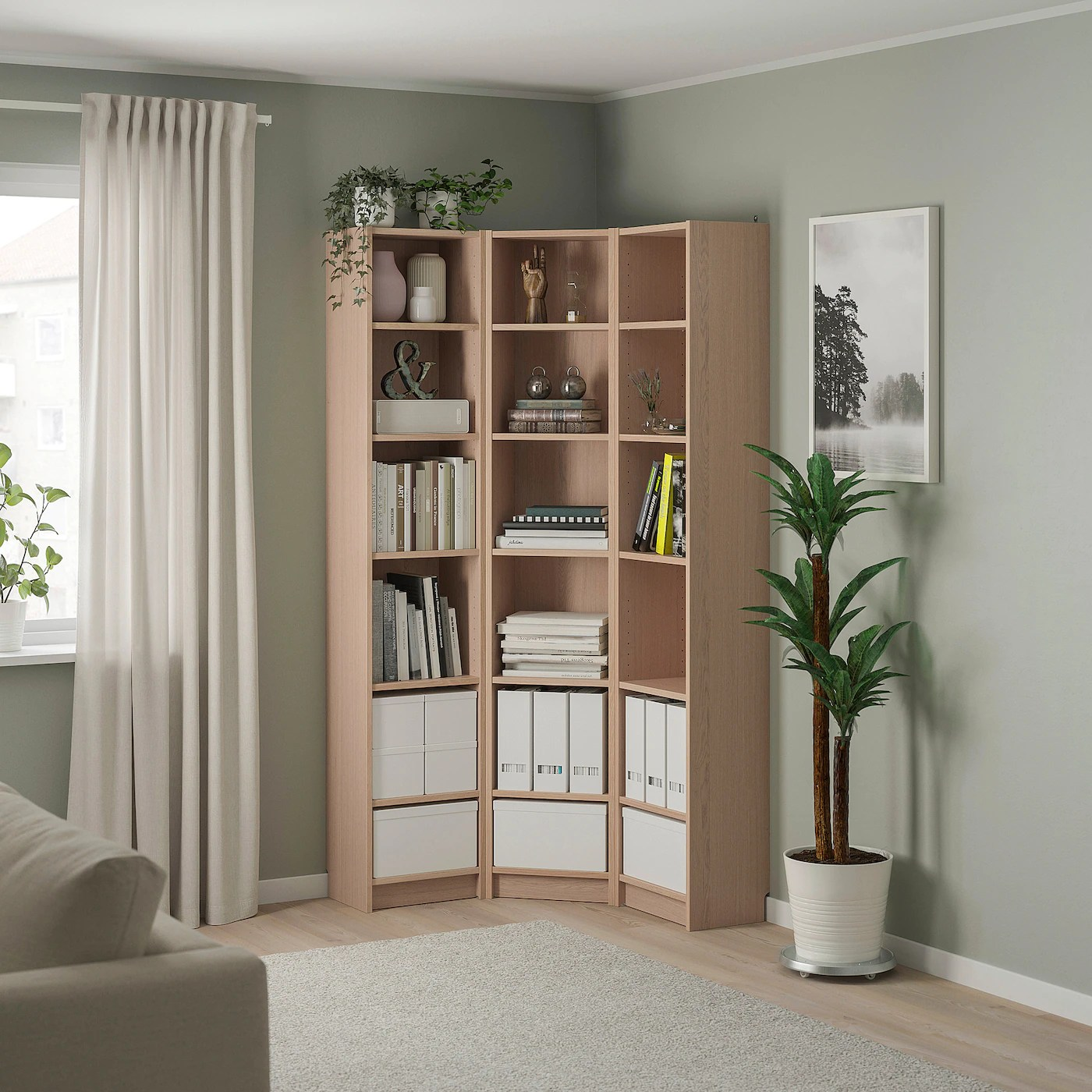 BILLY Bookcase combination/crnr solution   white stained ...