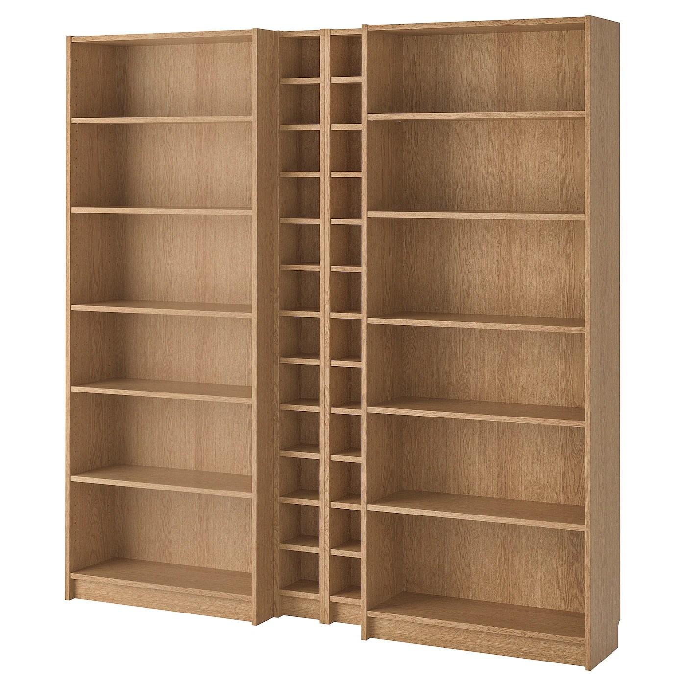 BILLY / GNEDBY Bookcase, oak veneer oak, 200x28x202 cm ...