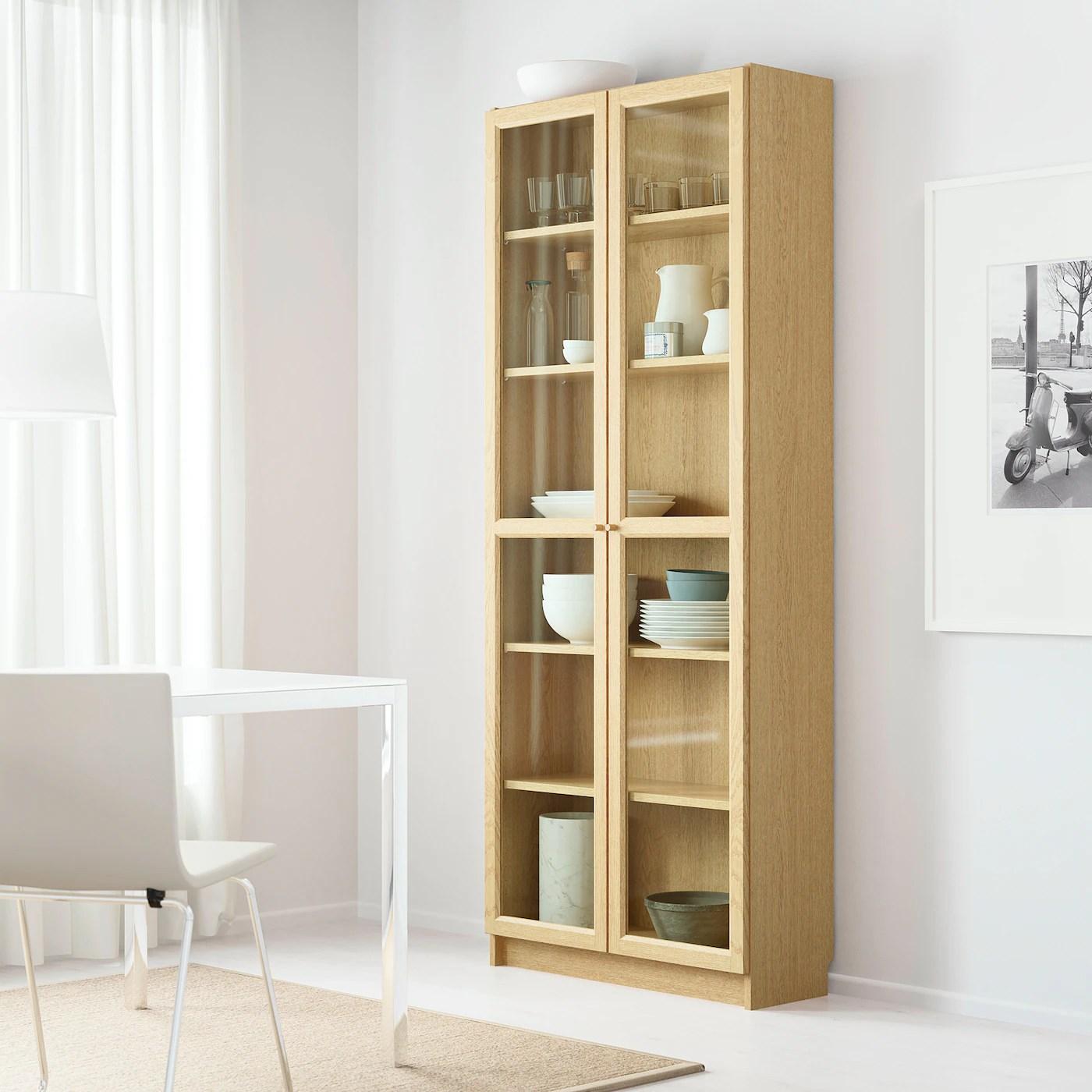 BILLY / OXBERG Bookcase, oak veneer oak, 80x202x28 cm ...