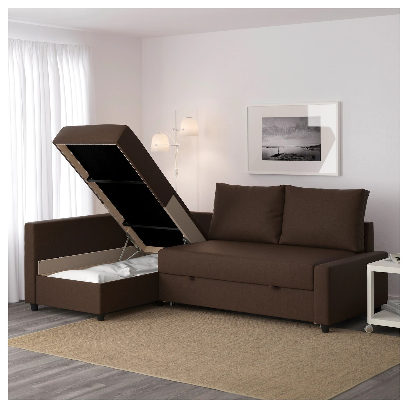 chair converts to bed broyhill bonded leather manager friheten corner sofa-bed with storage skiftebo brown - ikea