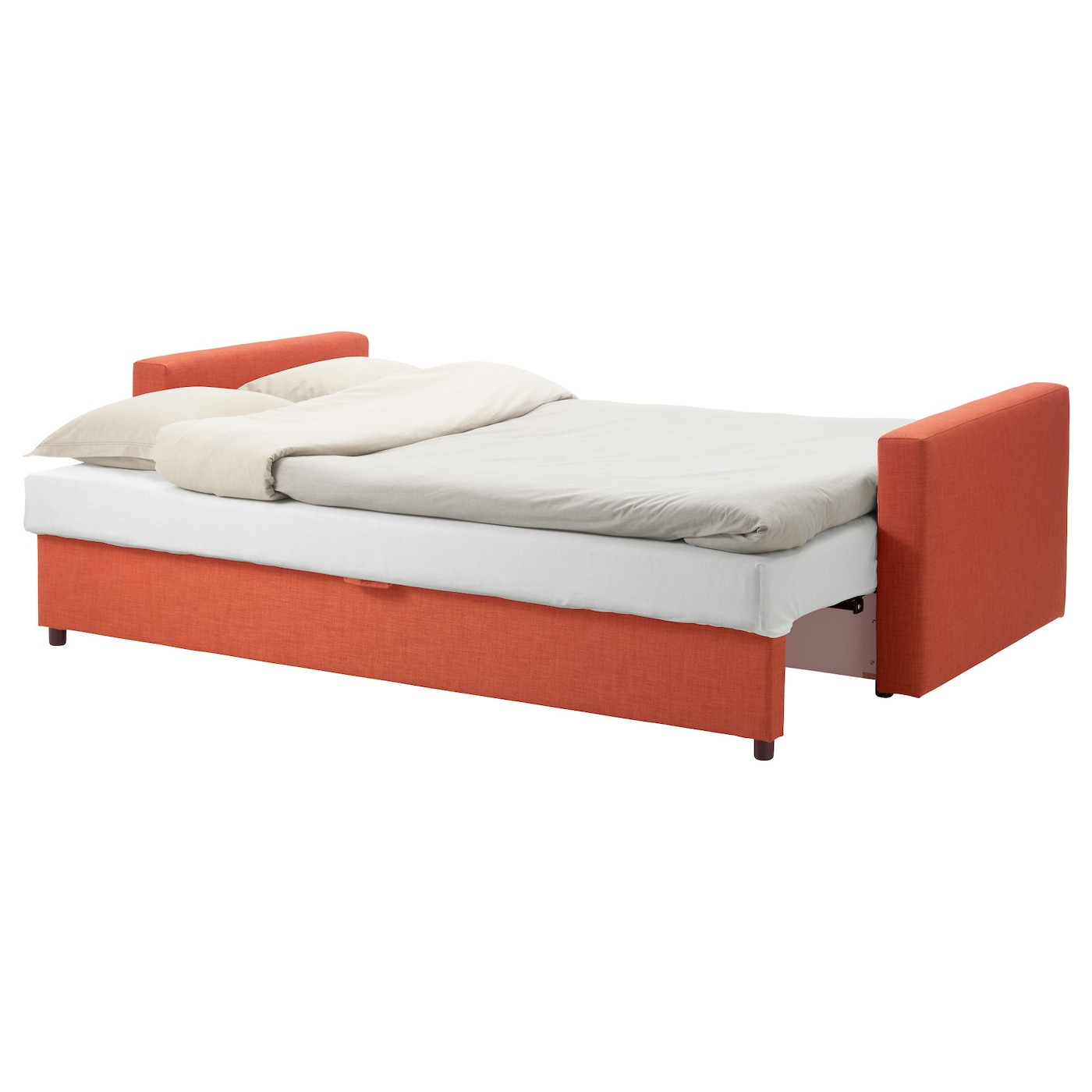 orange and black sofa bed abbyson living bedford gray linen convertible sleeper sectional friheten three seat skiftebo dark ikea