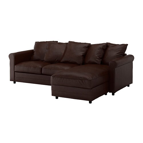 clean leather sofa with damp cloth studio sydney gronlid 3 seat chaise longue kimstad dark brown ikea the cover is easy to keep as it can