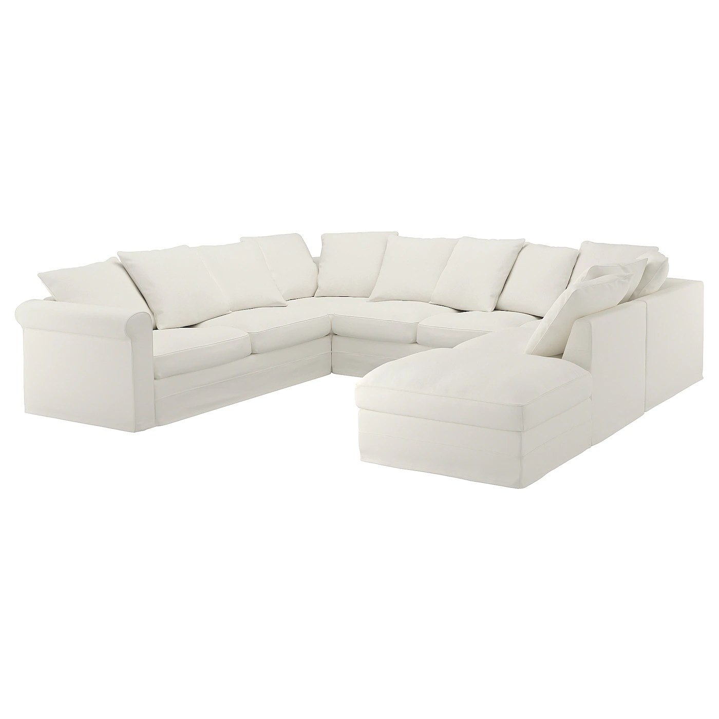 u sofa sectional sofas in phoenix az gronlid shaped 6 seat with open end inseros white ikea
