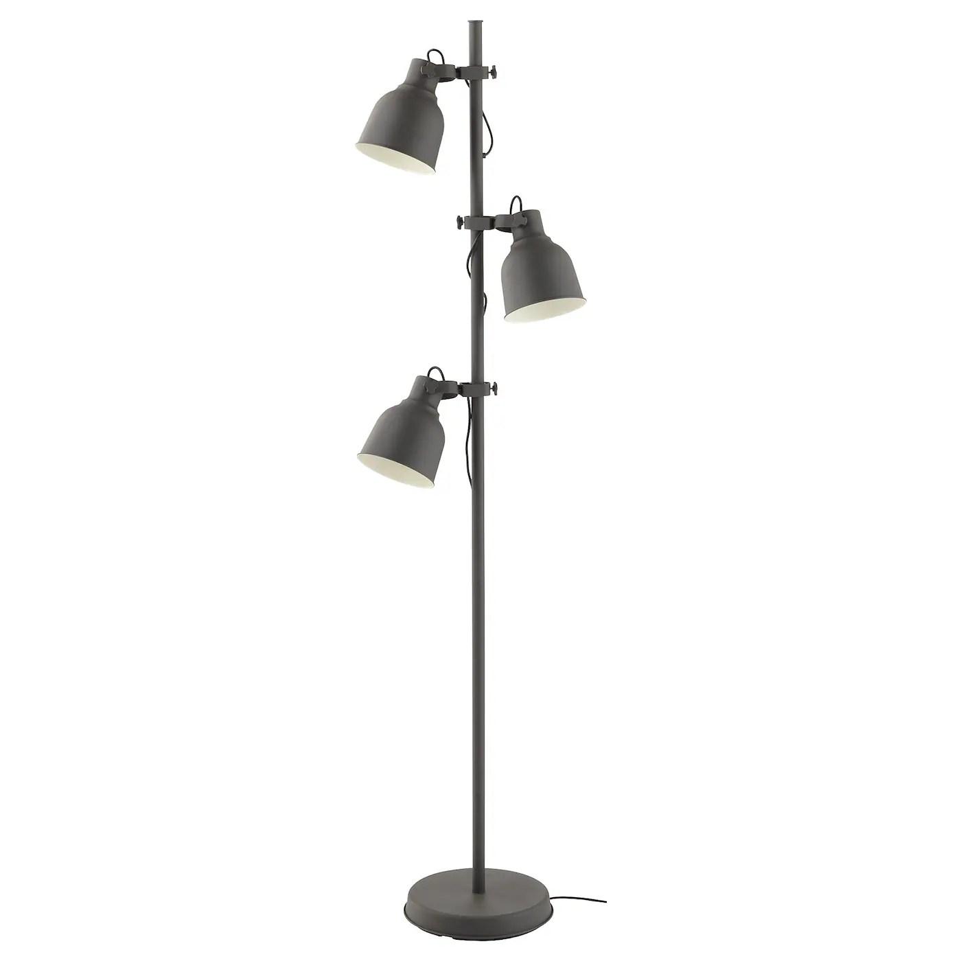 Hektar Floor Lamp With 3 Spot Dark Grey Ikea Ireland