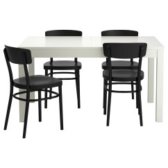 Ikea Dining Chair Covers Black And White Graco Tablefit High Finley Idolf Bjursta Table 4 Chairs 140 Cm