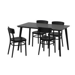Ikea Dining Chairs Small Comfortable Idolf Lisabo Table And 4 Black 140 X 78 Cm